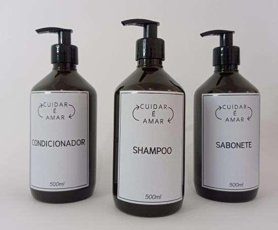 KIt Frasco Pet Âmbar 500ml -  03 peças (Shampoo, Condicionador E Sabonete)
