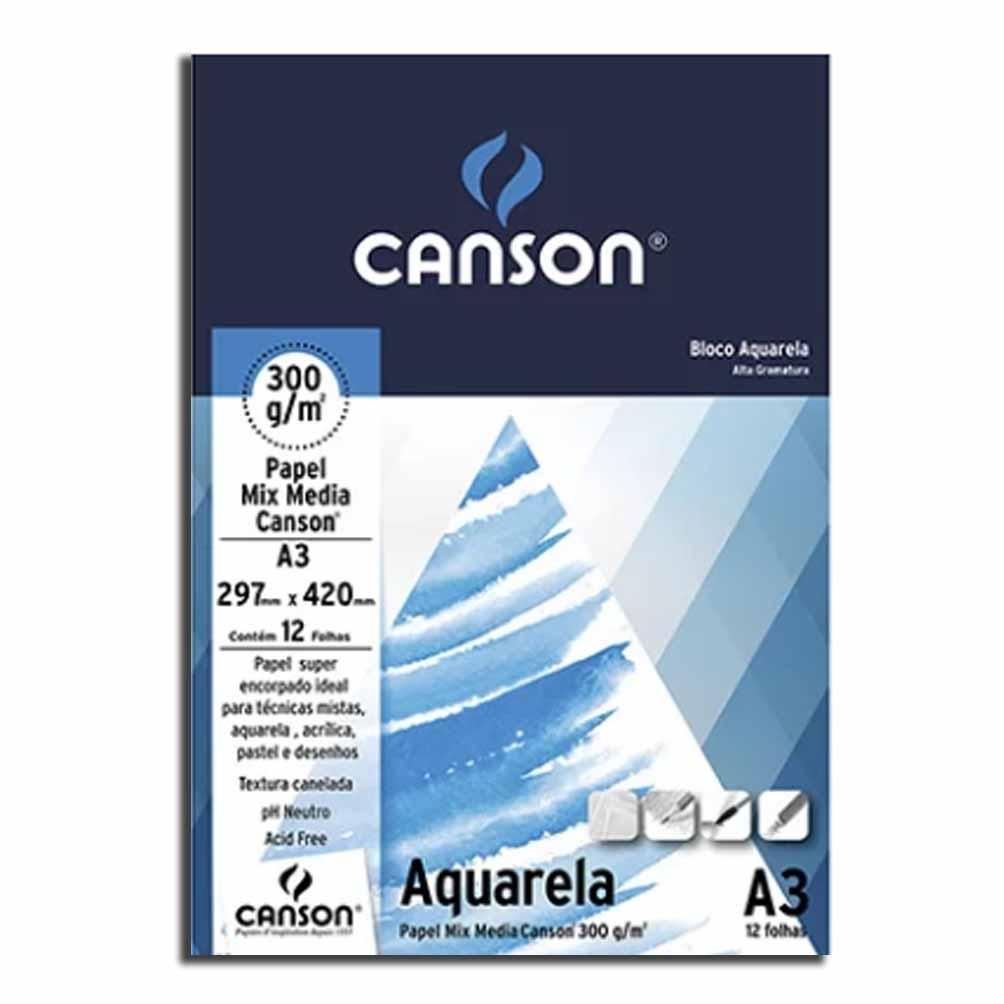 Bloco A3 Aquarela 300g 12 Folhas Canson