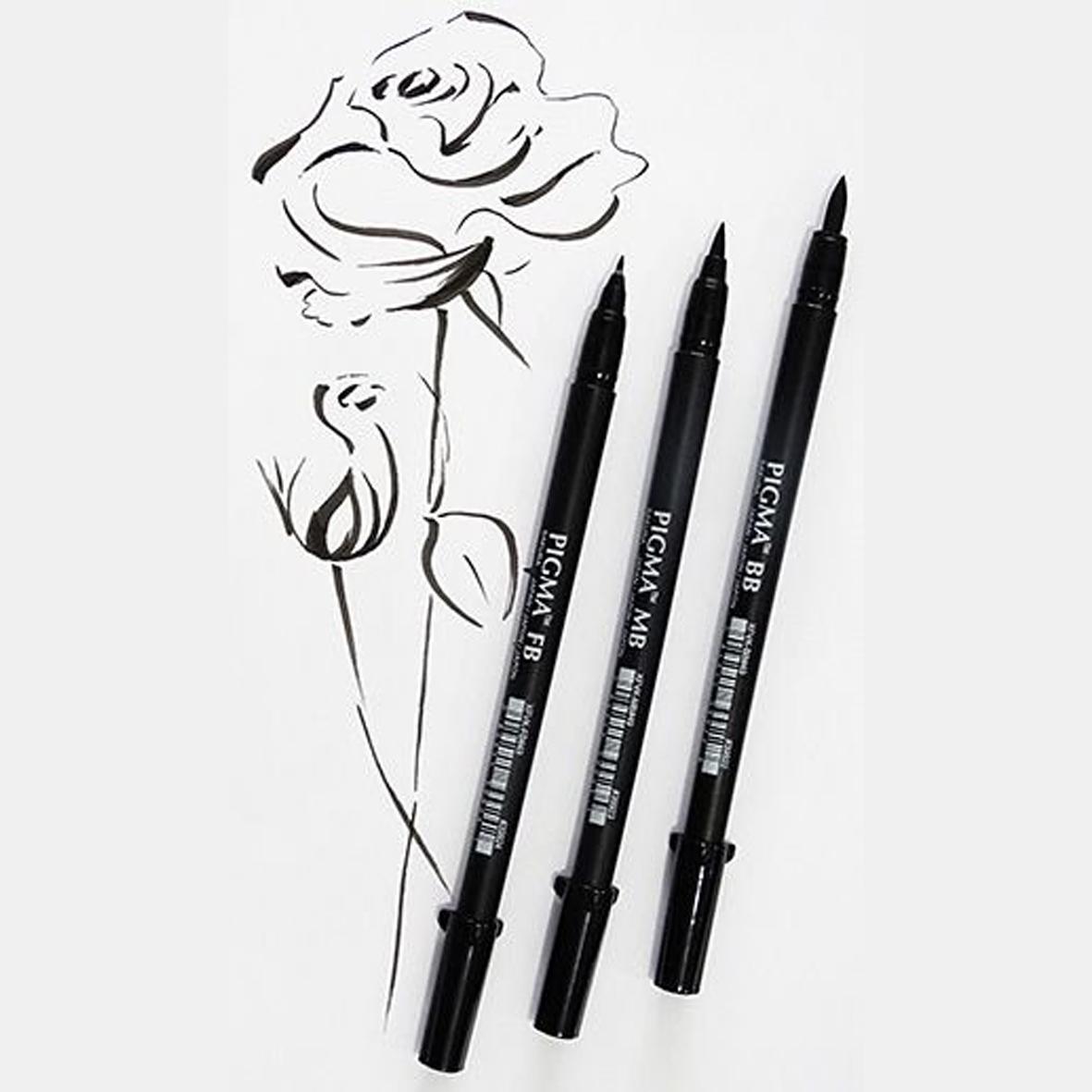 Caneta Ponta Pincel Pigma Brush Pen Sakura Profissional