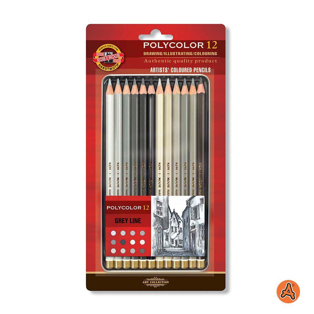 Lápis de Cor Artístico Polycolor 12 Tons de Cinza Koh-I-Noor