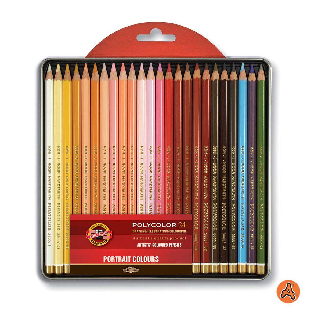 Lápis de Cor Artístico Polycolor 24 Tons de Retrato Koh-I-Noor