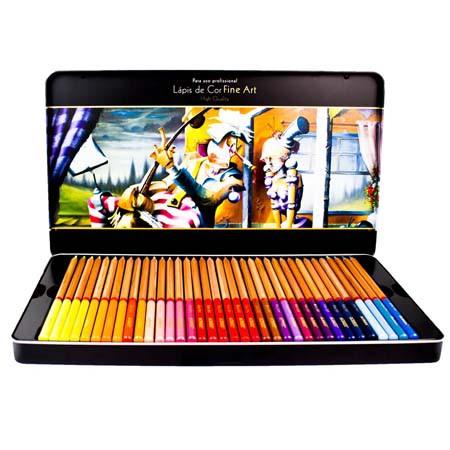 Lápis de Cor Fine Art Acrilex High Quality Estojo com 72 cores
