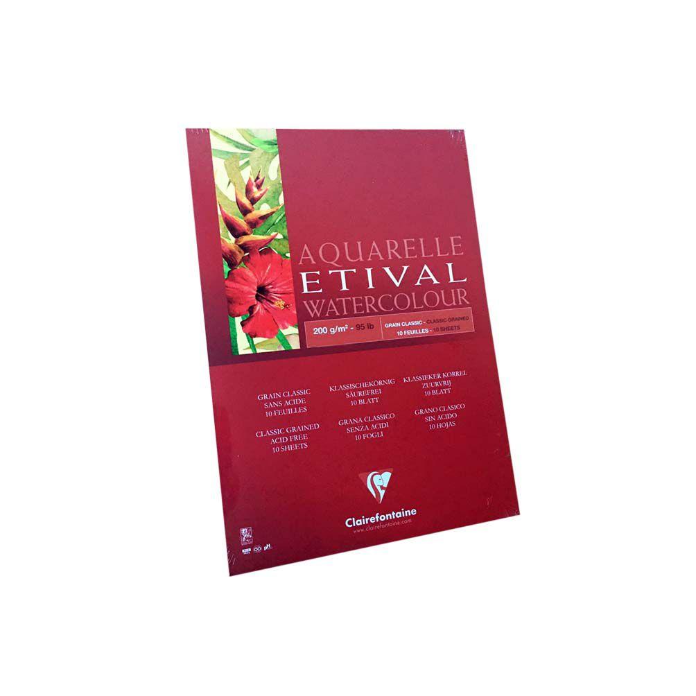 Papel para Aquarela Clairefontaine Etival 200g/m² A4 10fls