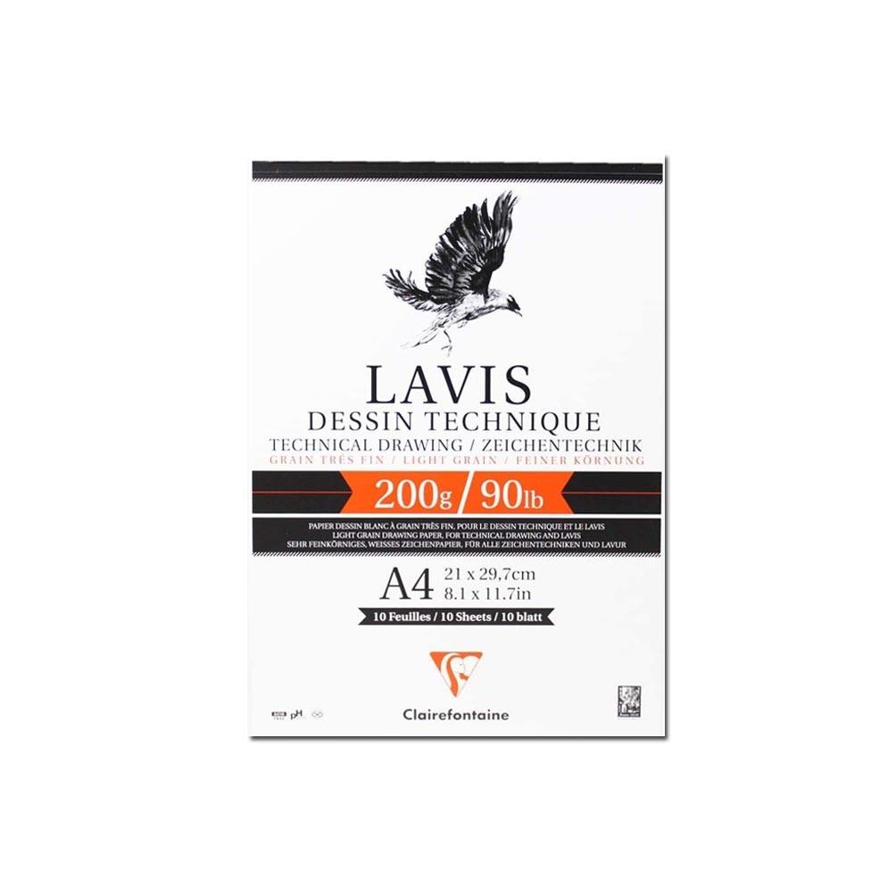 Papel Para Desenho Técnico Clairefontaine Lavis 200g/m² A4 10 fls