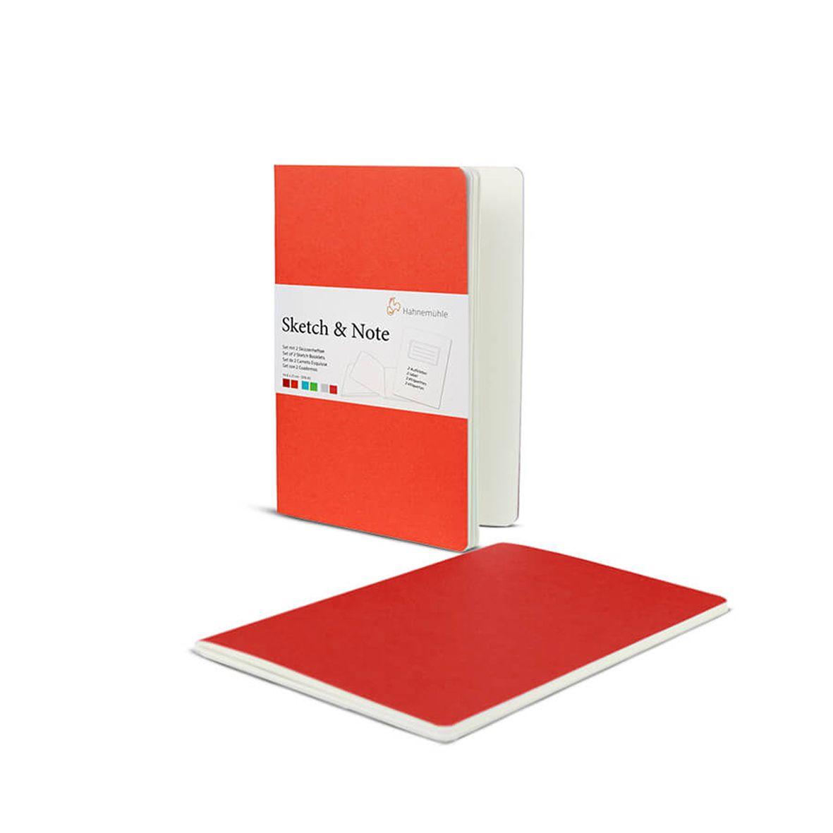 Sketch Note A5 125g m2 costurado 40 páginas 2x Vermelho e Laranja - Hahnemühle
