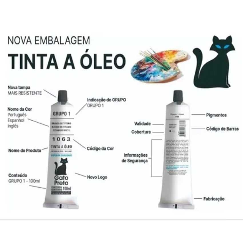 Tinta A Óleo Gato Preto 100ml