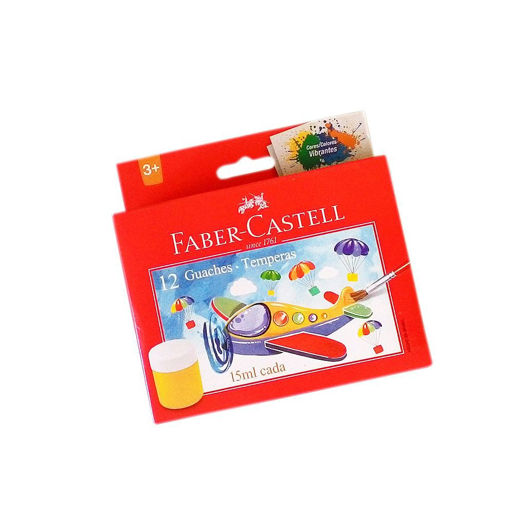 Tinta guache tempera Faber-Castell 12 cores 15ml