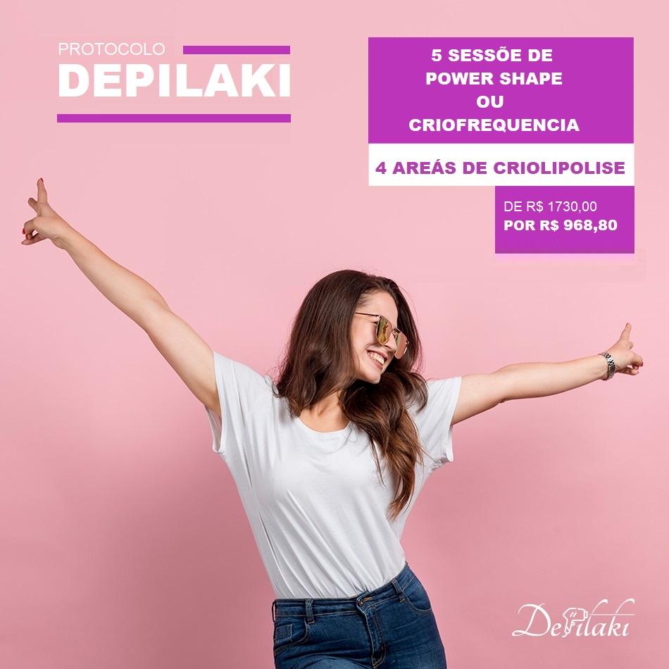 PROTOCOLO DEPILAKI - 4 Áreas de Criolipolise  e 5 Sessões de Criofrequencia ou Power Shape