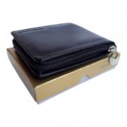Carteira masculina de couro com ziper porta moedas