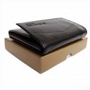 Carteira masculina de couro legitimo fecho em Velcro moderna com porta moedas