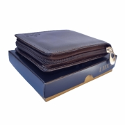 Carteira masculina de couro ziper porta cartão notas moedas marrom