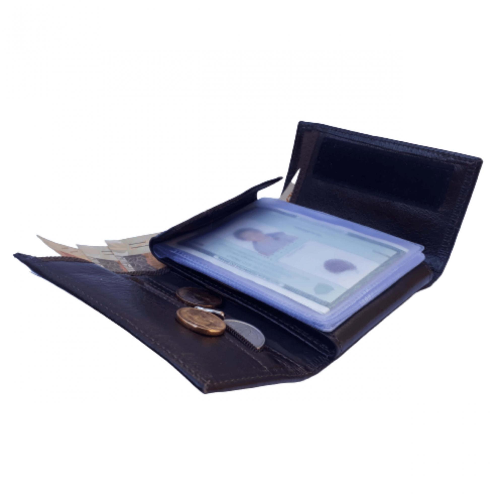 Carteira de couro masculina fecho moderno Porta cartão moedas RG Marrom