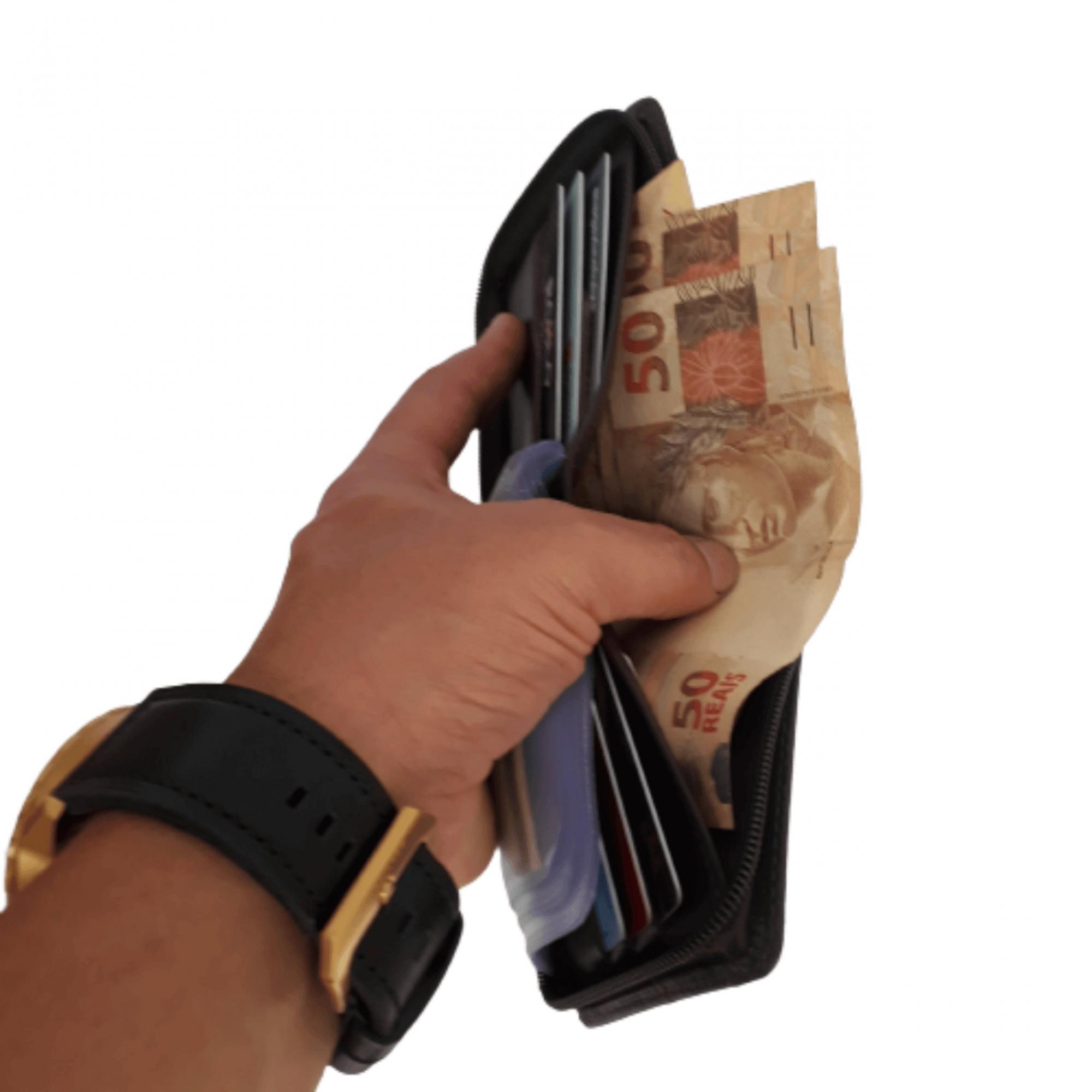Carteira masculina de couro com zíper e porta cartão moedas nota LK