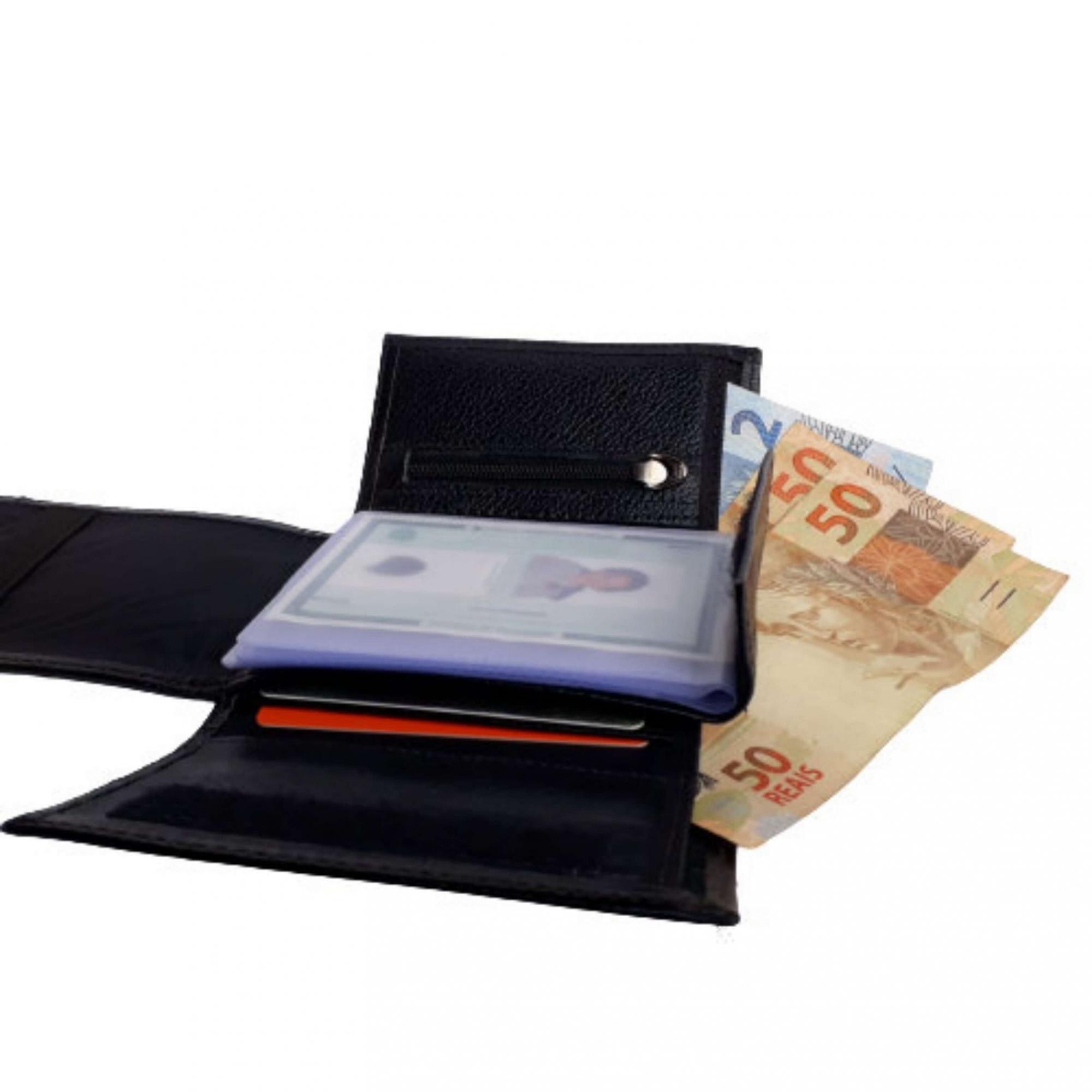 Carteira masculina de couro fecho moderno Porta cartão LK