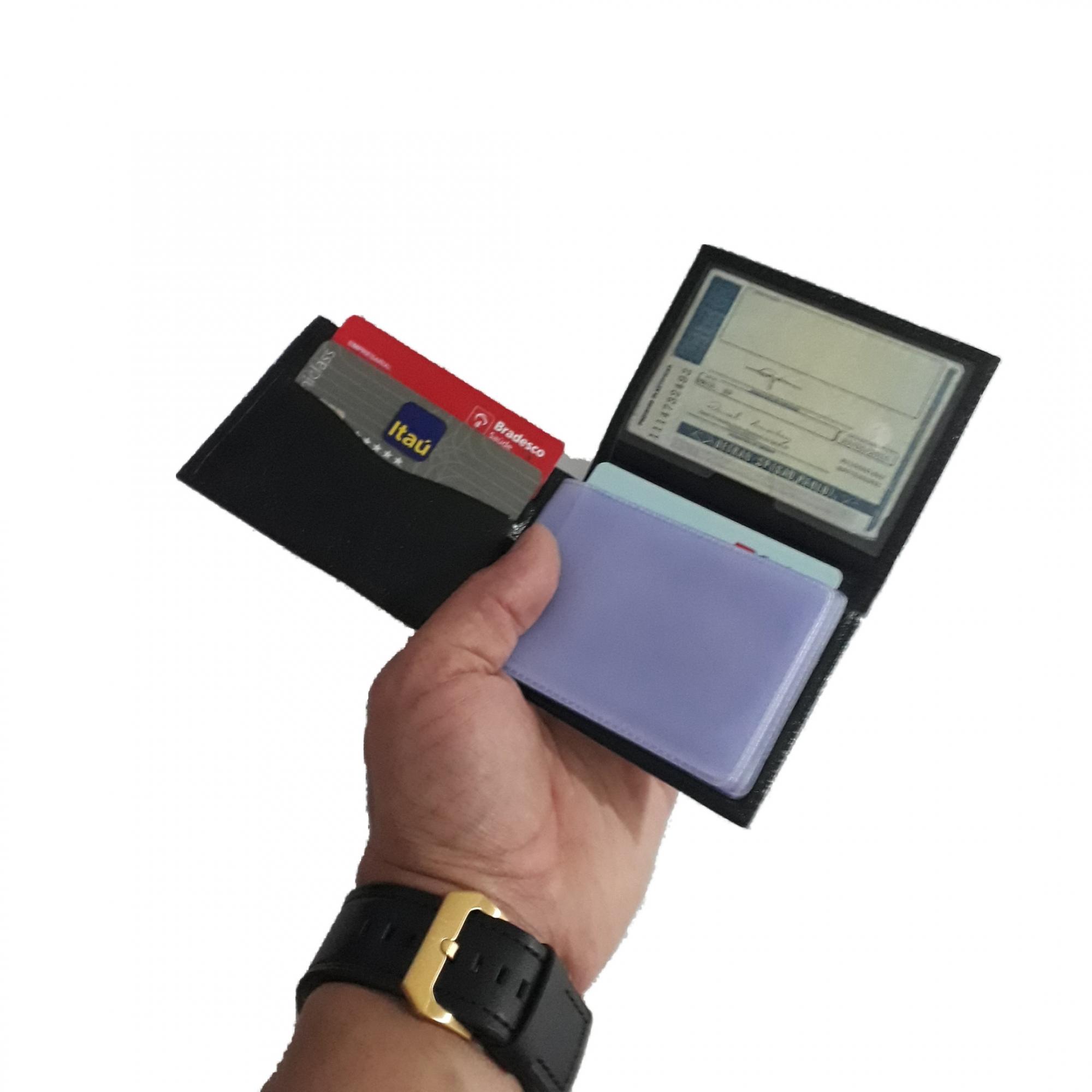 Porta cartão de couro masculino moderno pratico notas