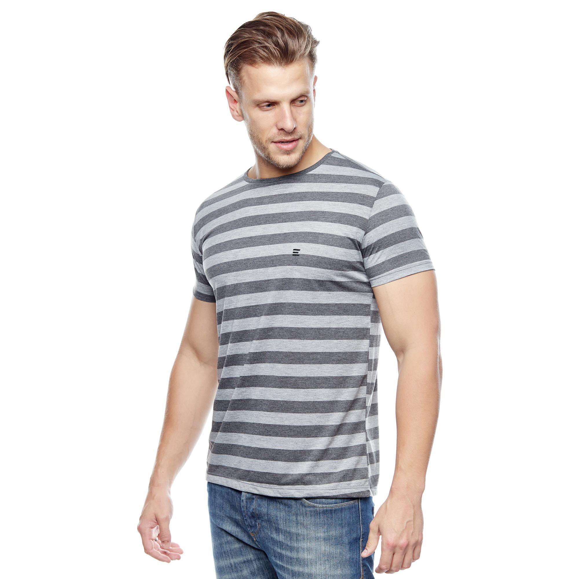 Camiseta Básica Gray Stripes Masculina Evolvee