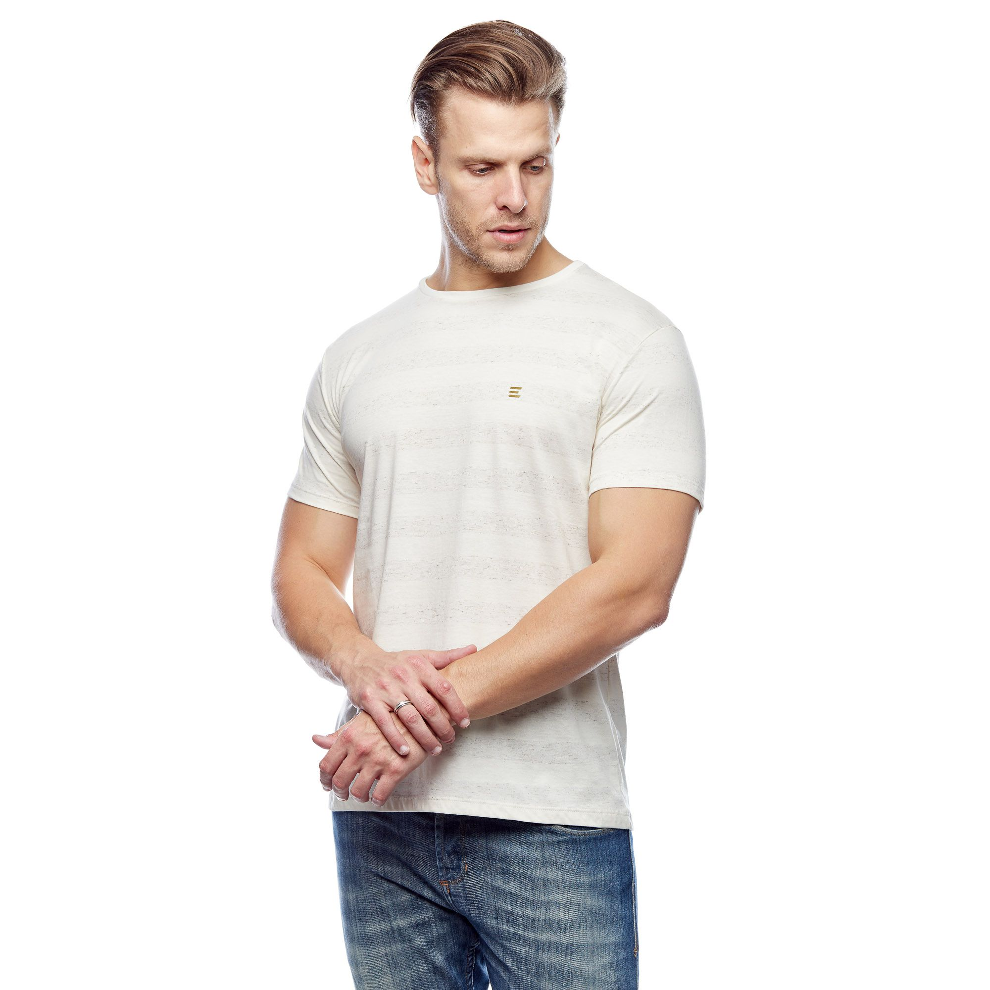 Camiseta Básica Large White Stripes Masculina Evolvee