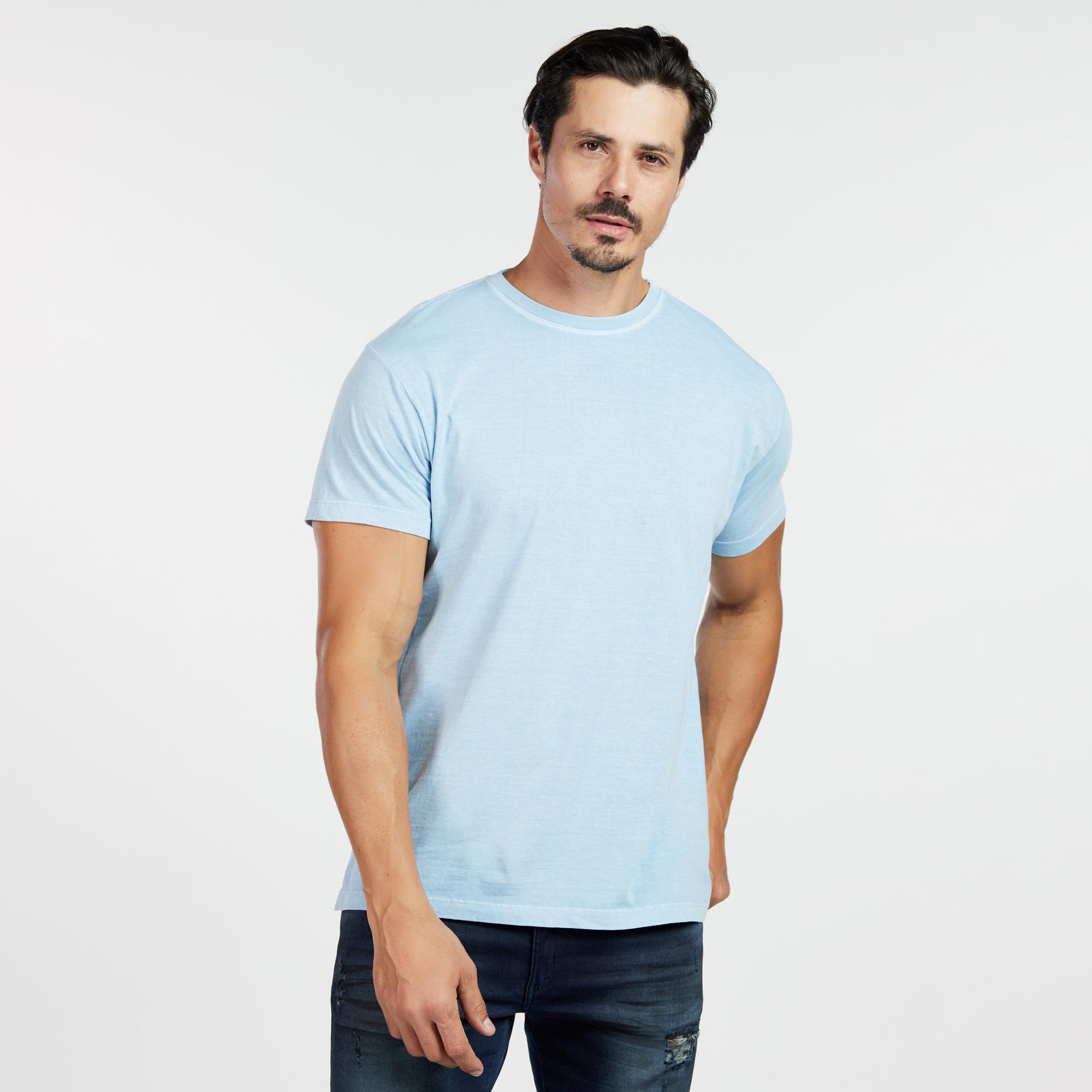 Camiseta Masculina Estonada Azul Claro