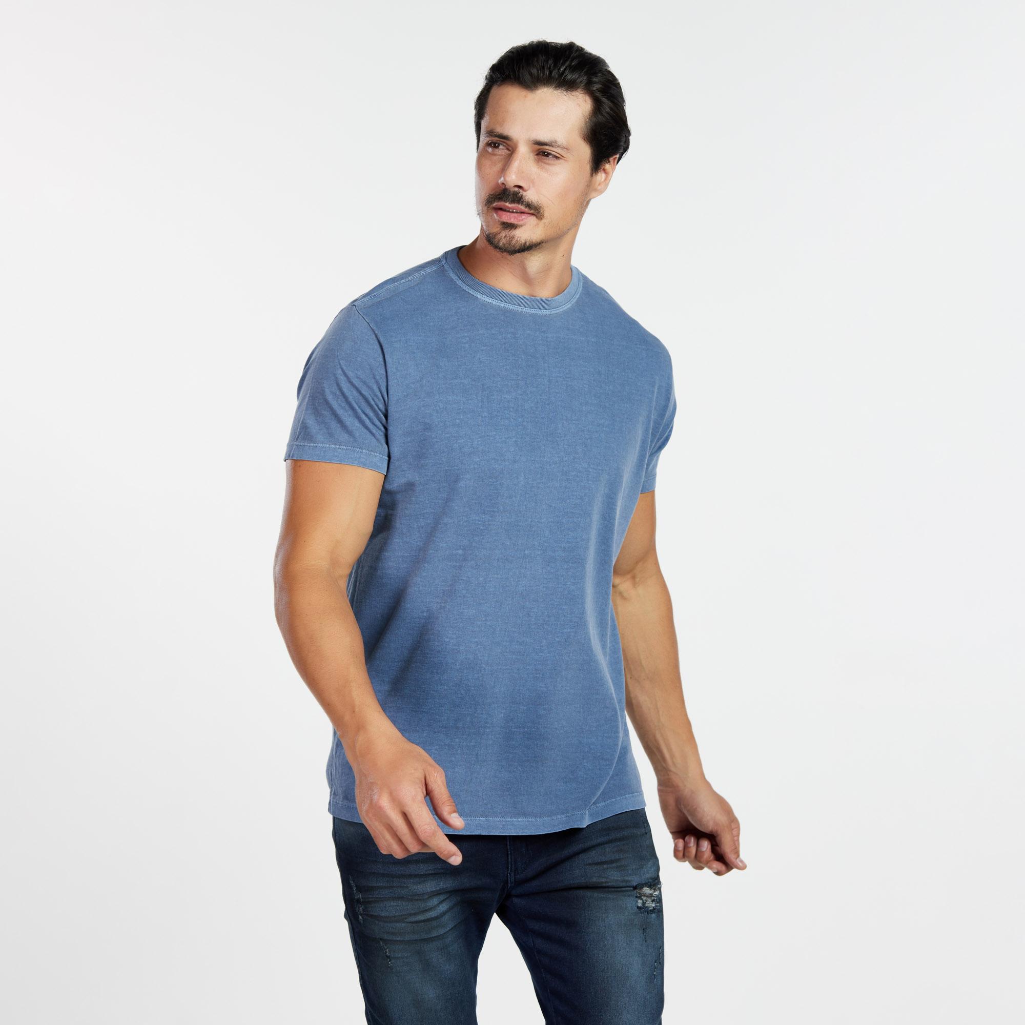 Camiseta Masculina Estonada Azul Marinho