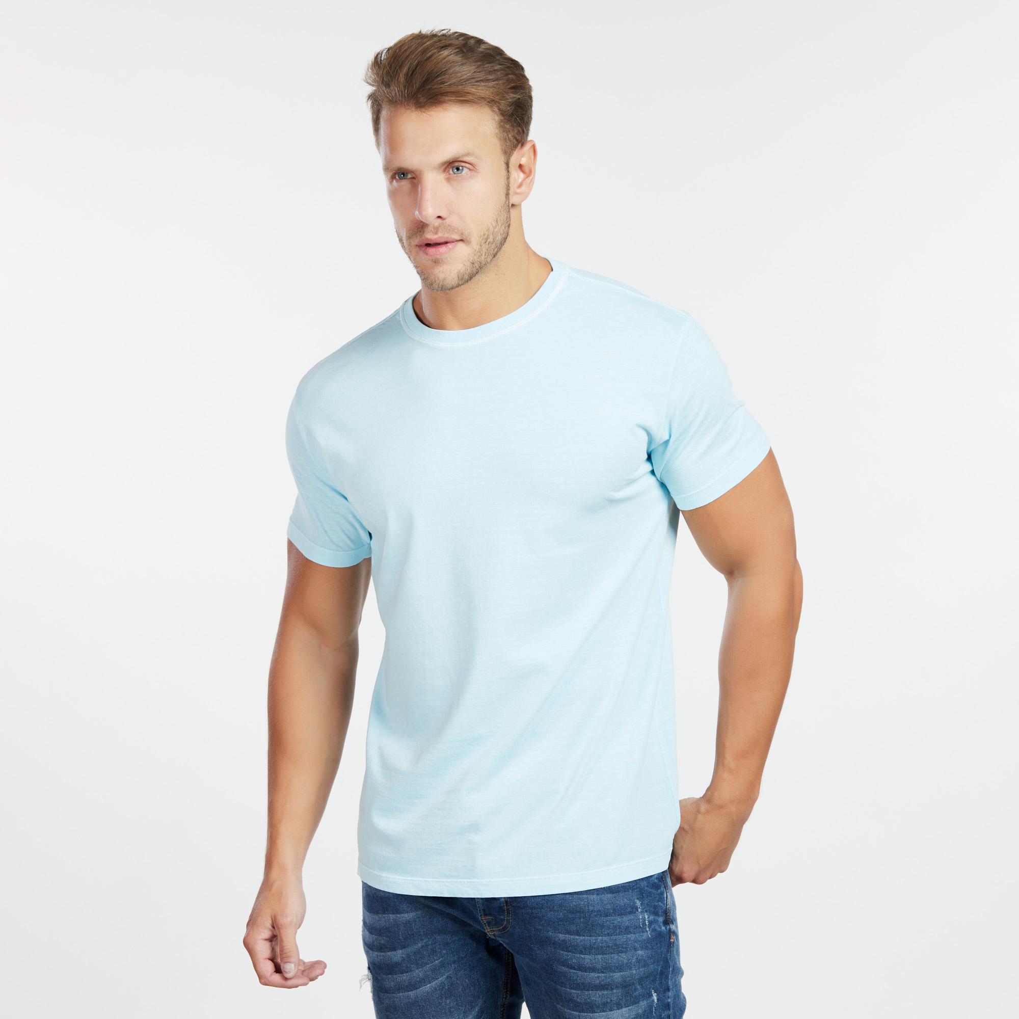 Camiseta Masculina Estonada Azul Neon