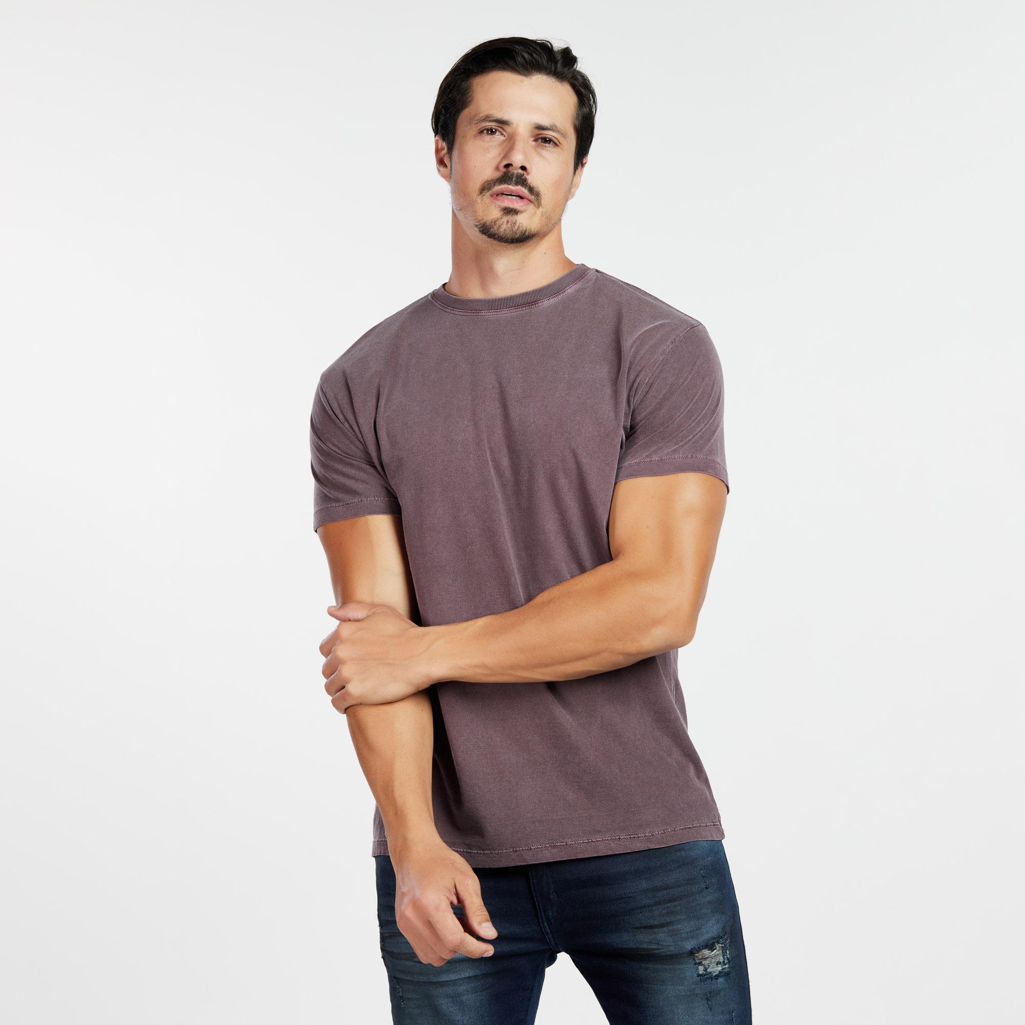 Camiseta Masculina Estonada Bordo