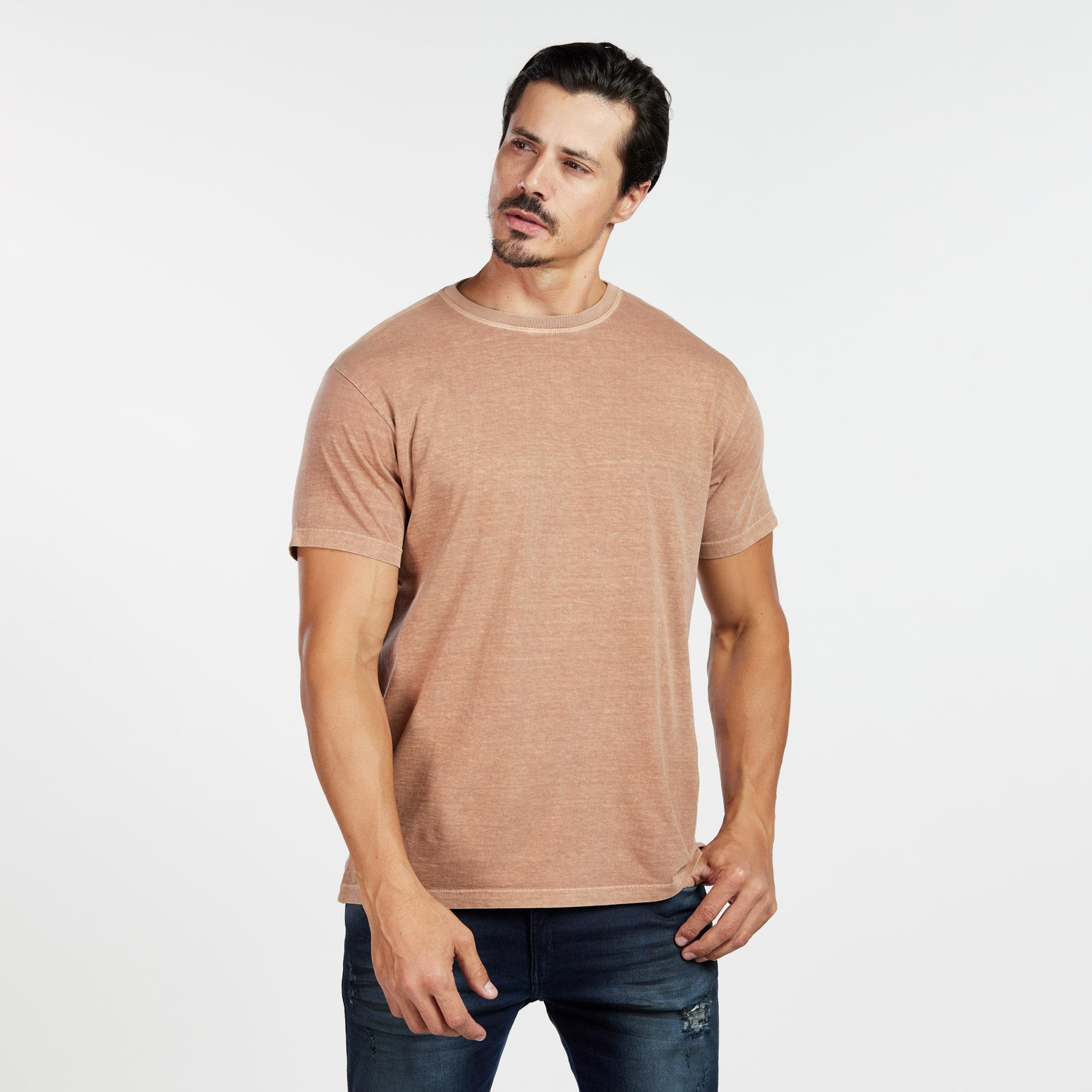 Camiseta Masculina Estonada Castanho