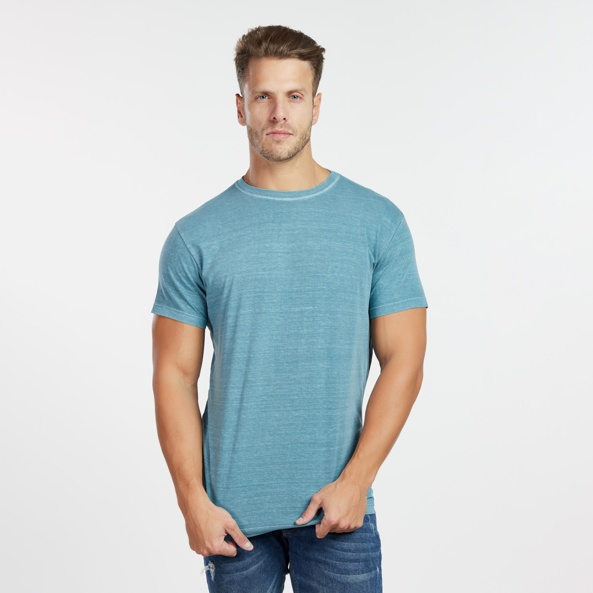 Camiseta Masculina Estonada Ciano Escuro
