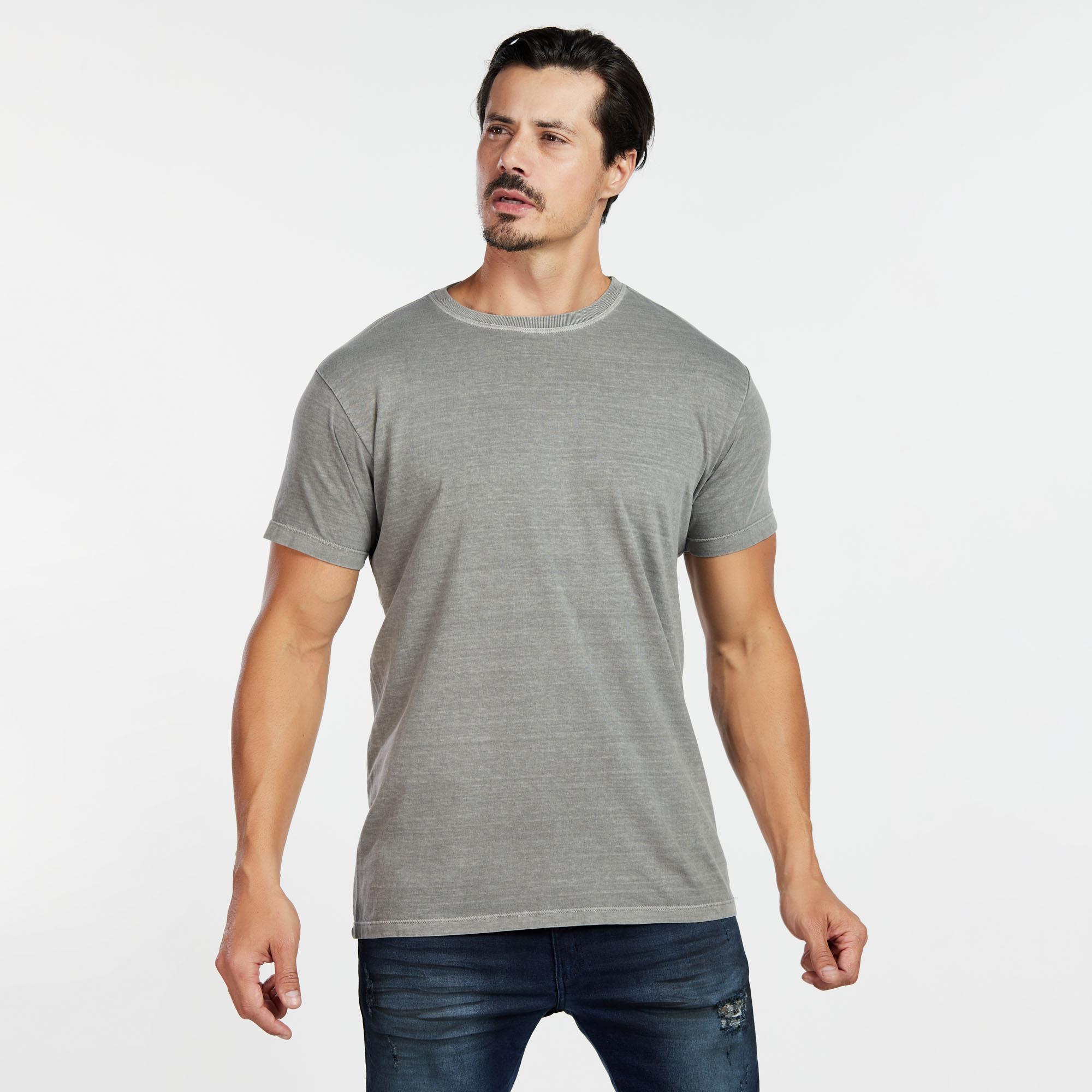 Camiseta Masculina Estonada Cinza Castanho