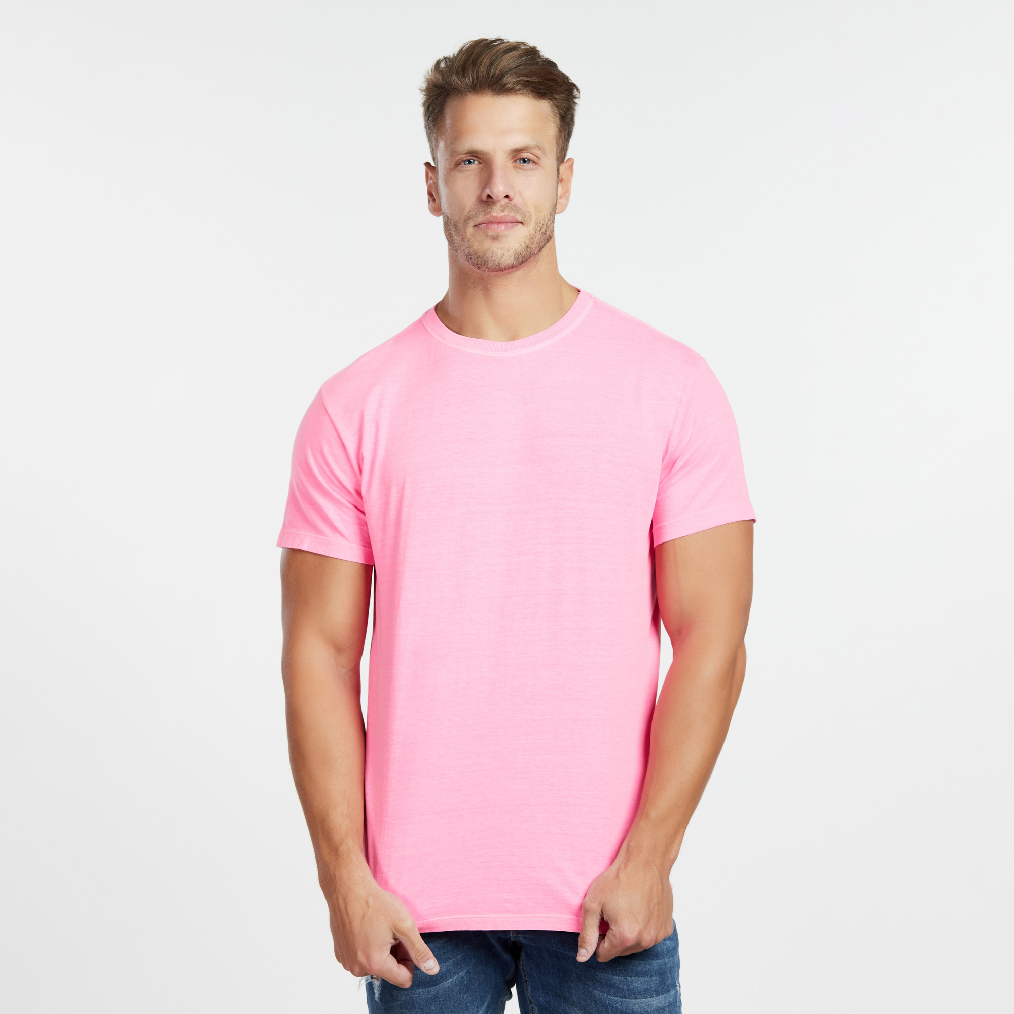 Camiseta Masculina Estonada Rosa Neon