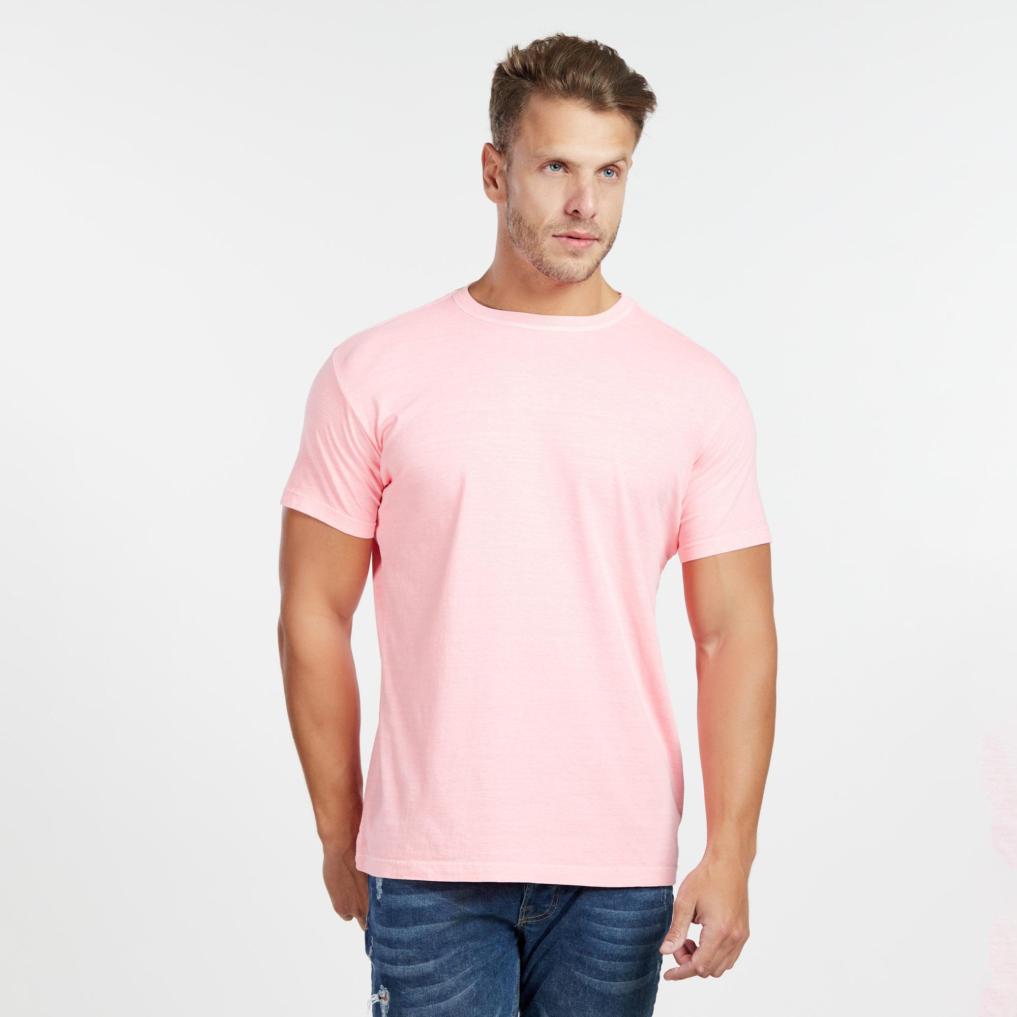 Camiseta Masculina Estonada Salmão Neon