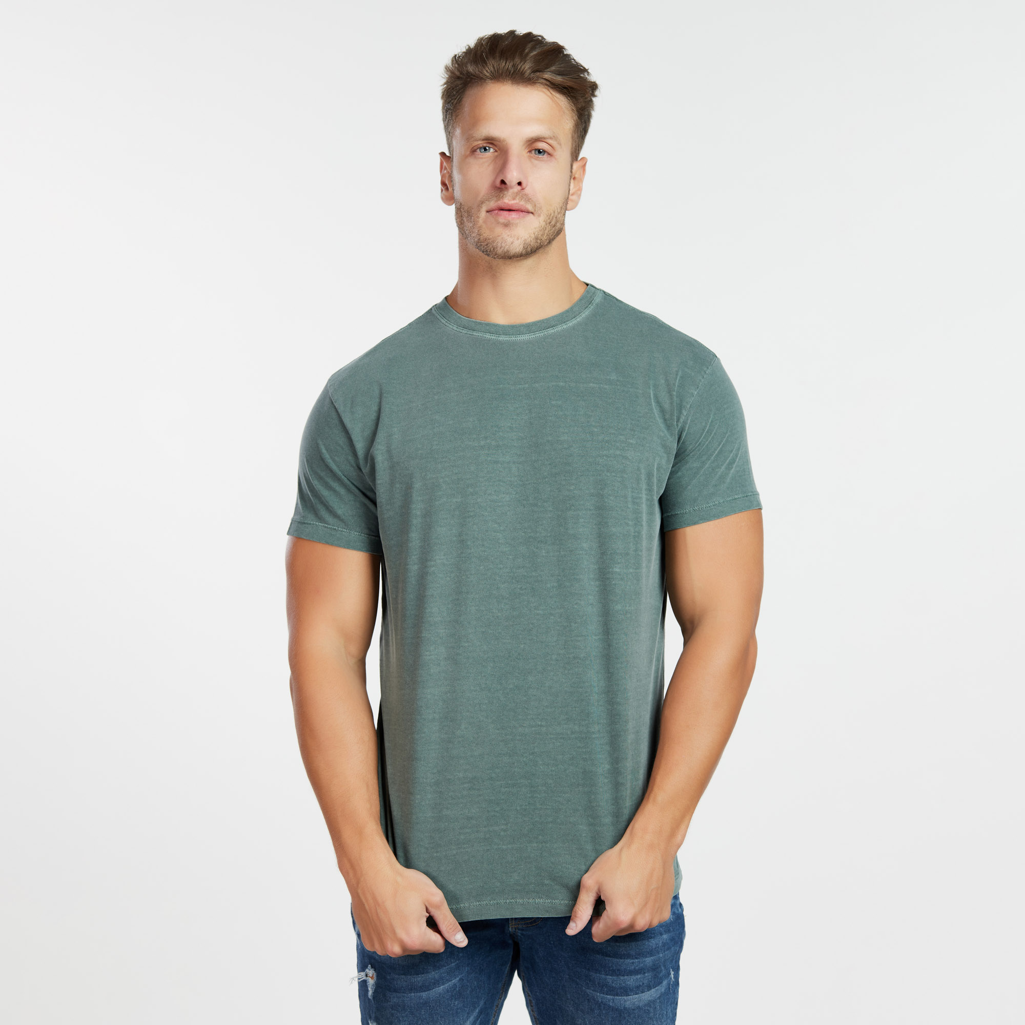 Camiseta Masculina Estonada Verde Escuro