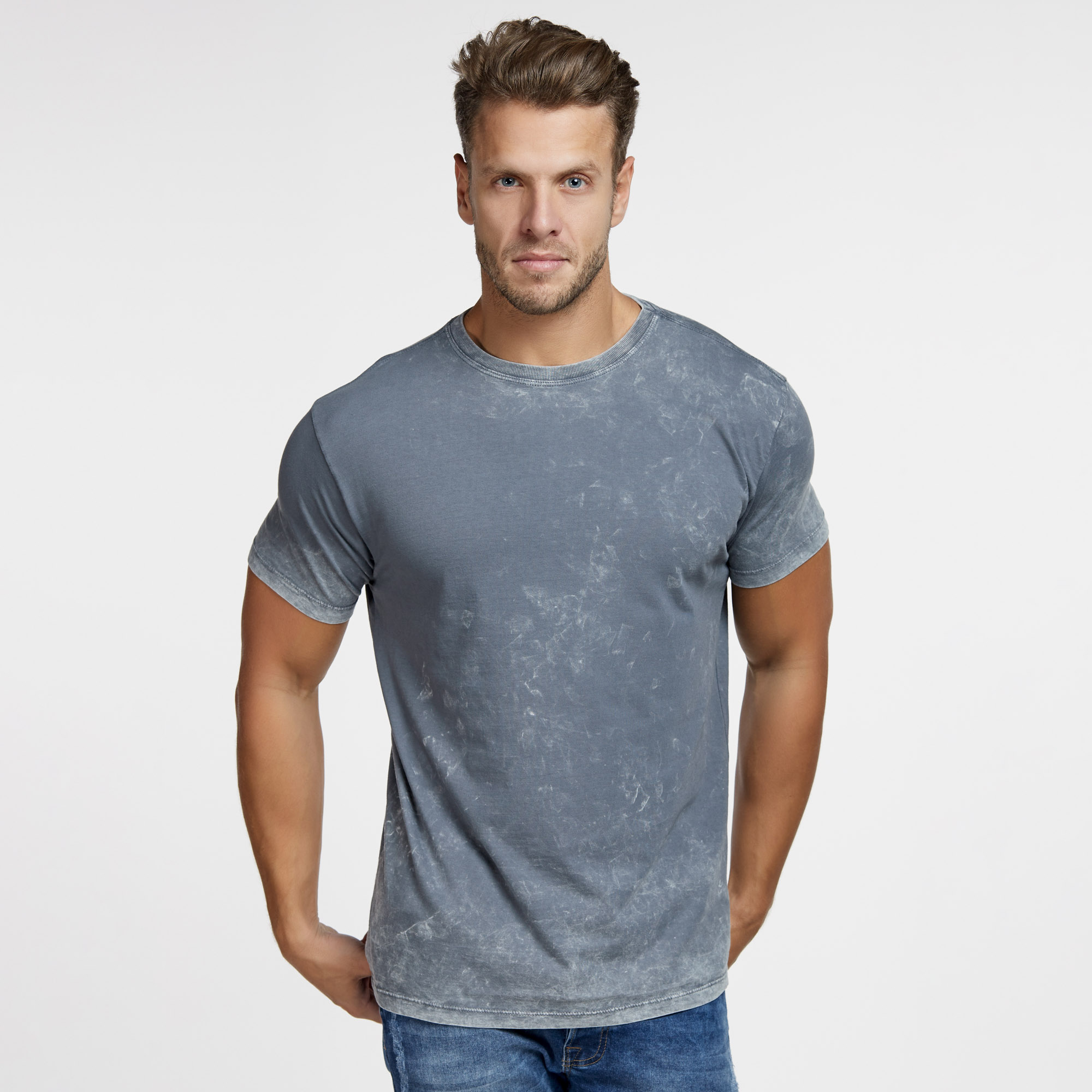Camiseta Masculina Marmorizada do Avesso Cinza