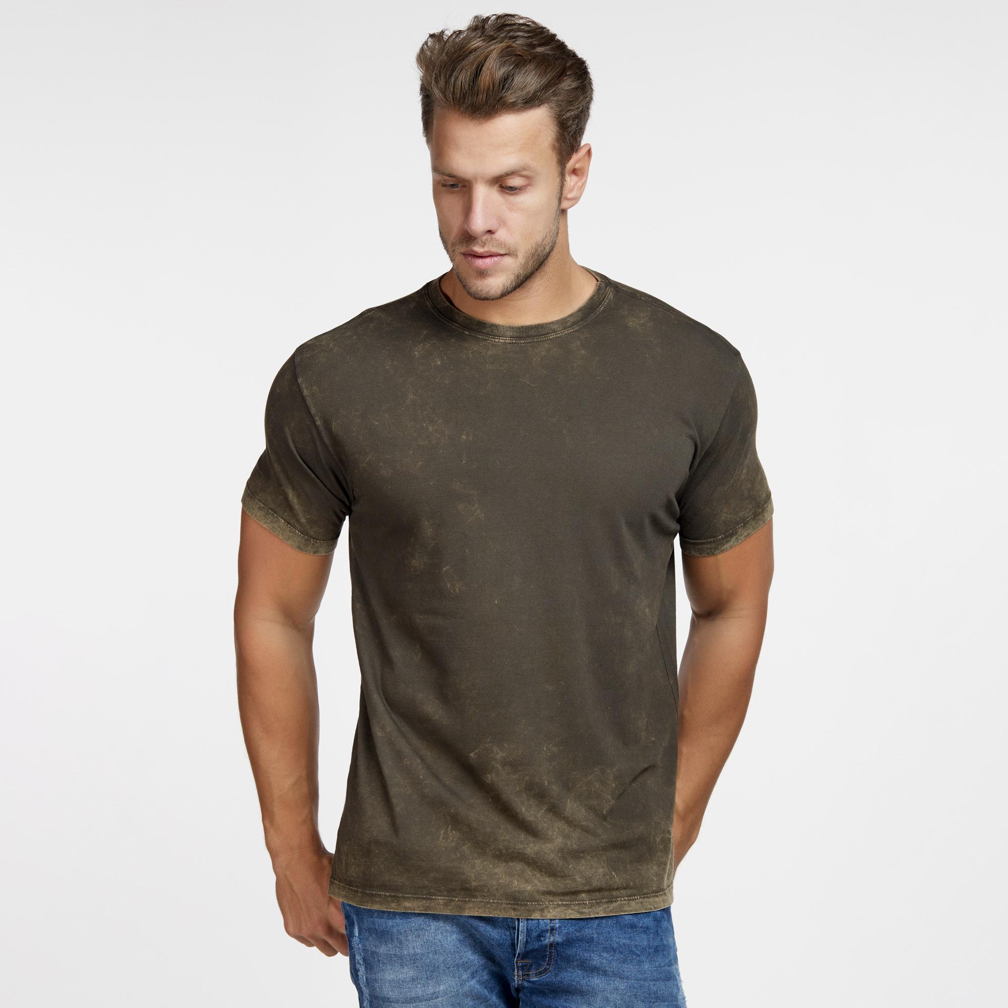 Camiseta Masculina Marmorizada do Avesso Marrom
