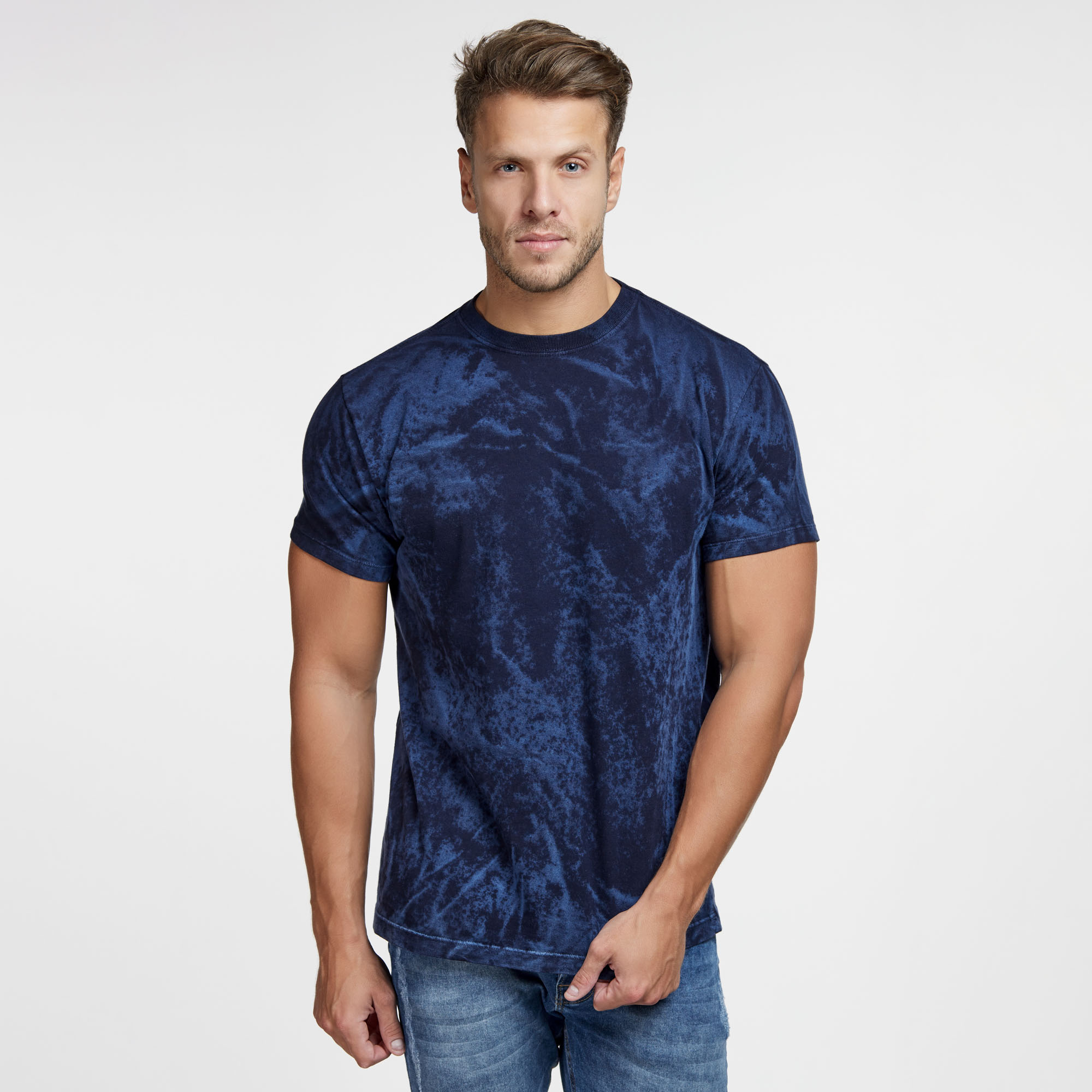 Camiseta Masculina Texturizada Azul Marinho