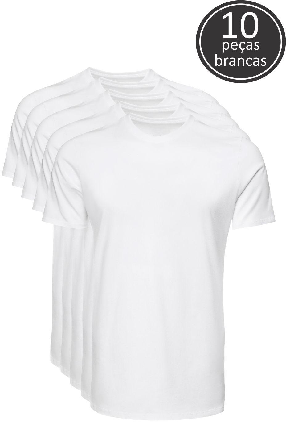 Kit 10 Camisetas Branco