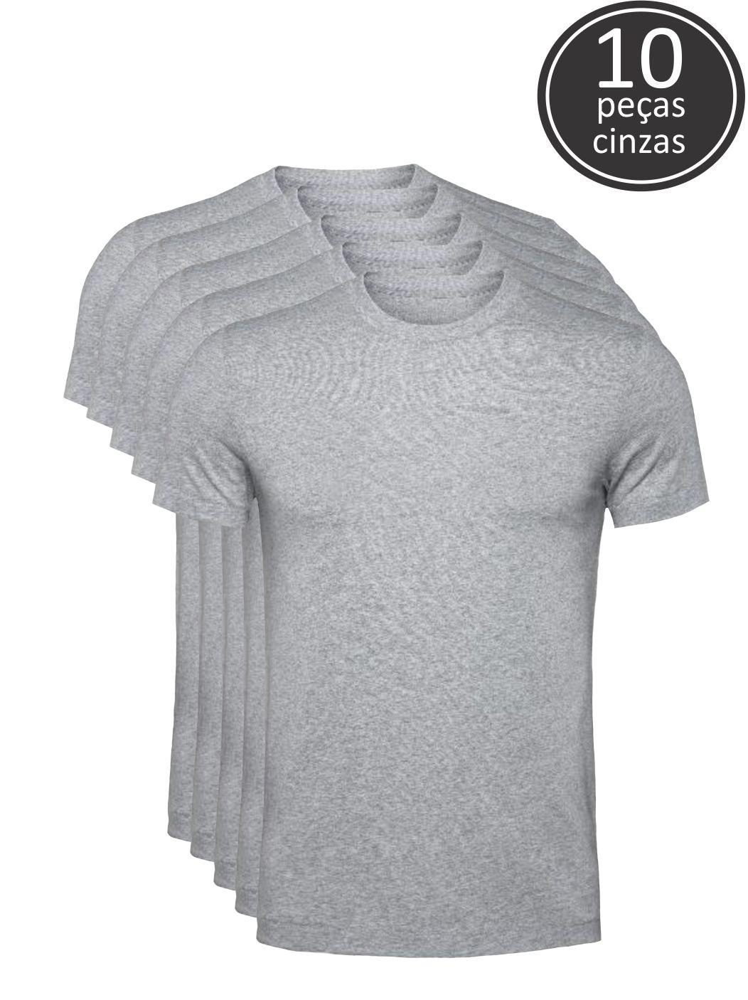 Kit 10 Camisetas Cinza Claro