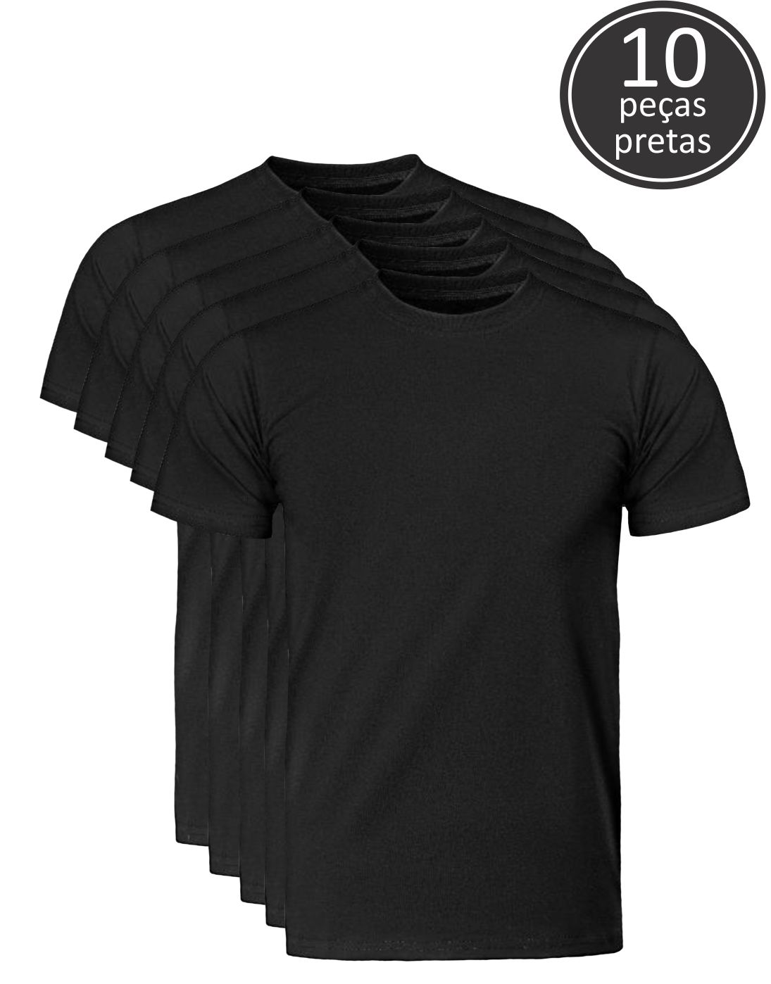 Kit 10 Camisetas Pretas