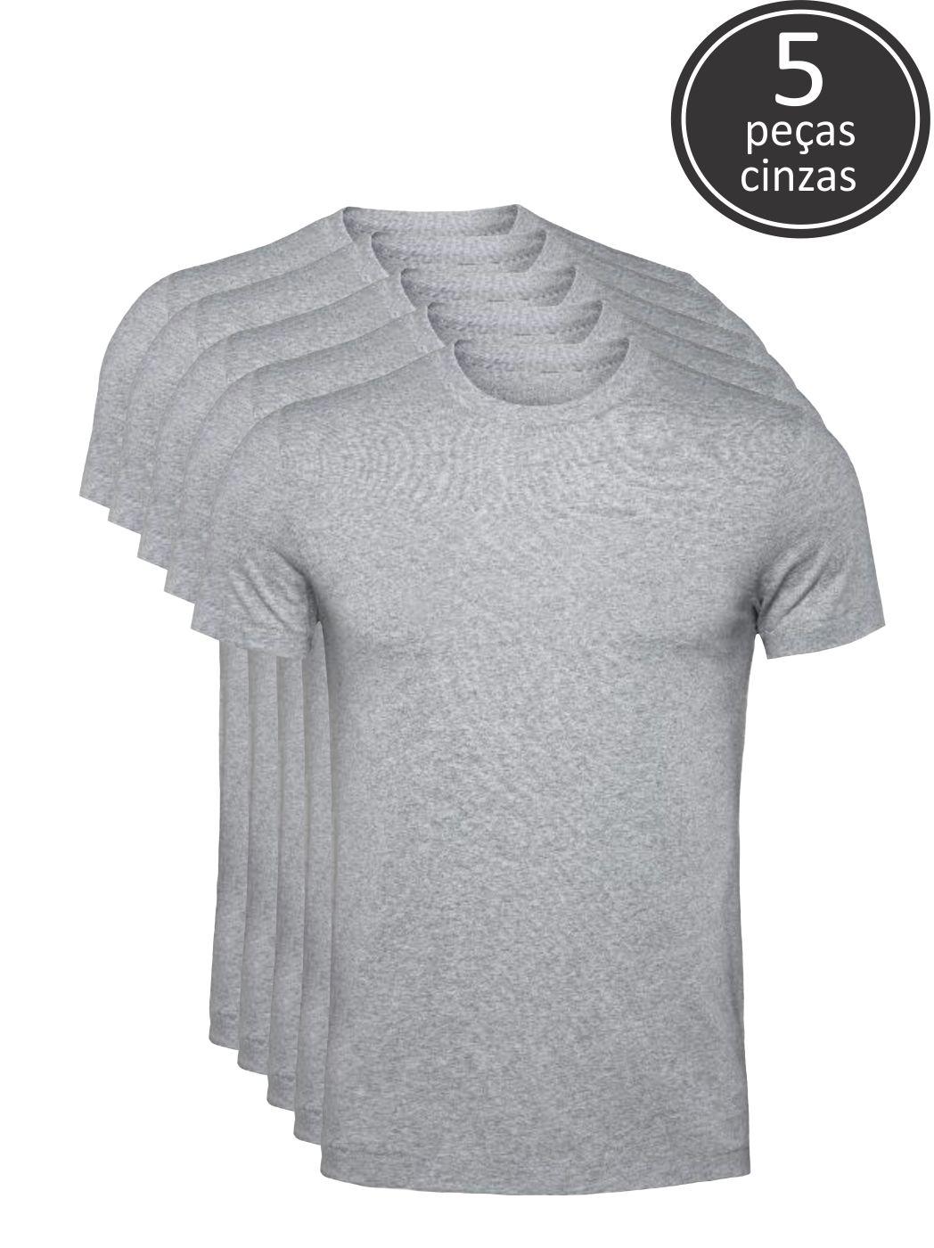 Kit 5 Camisetas Cinza Claro