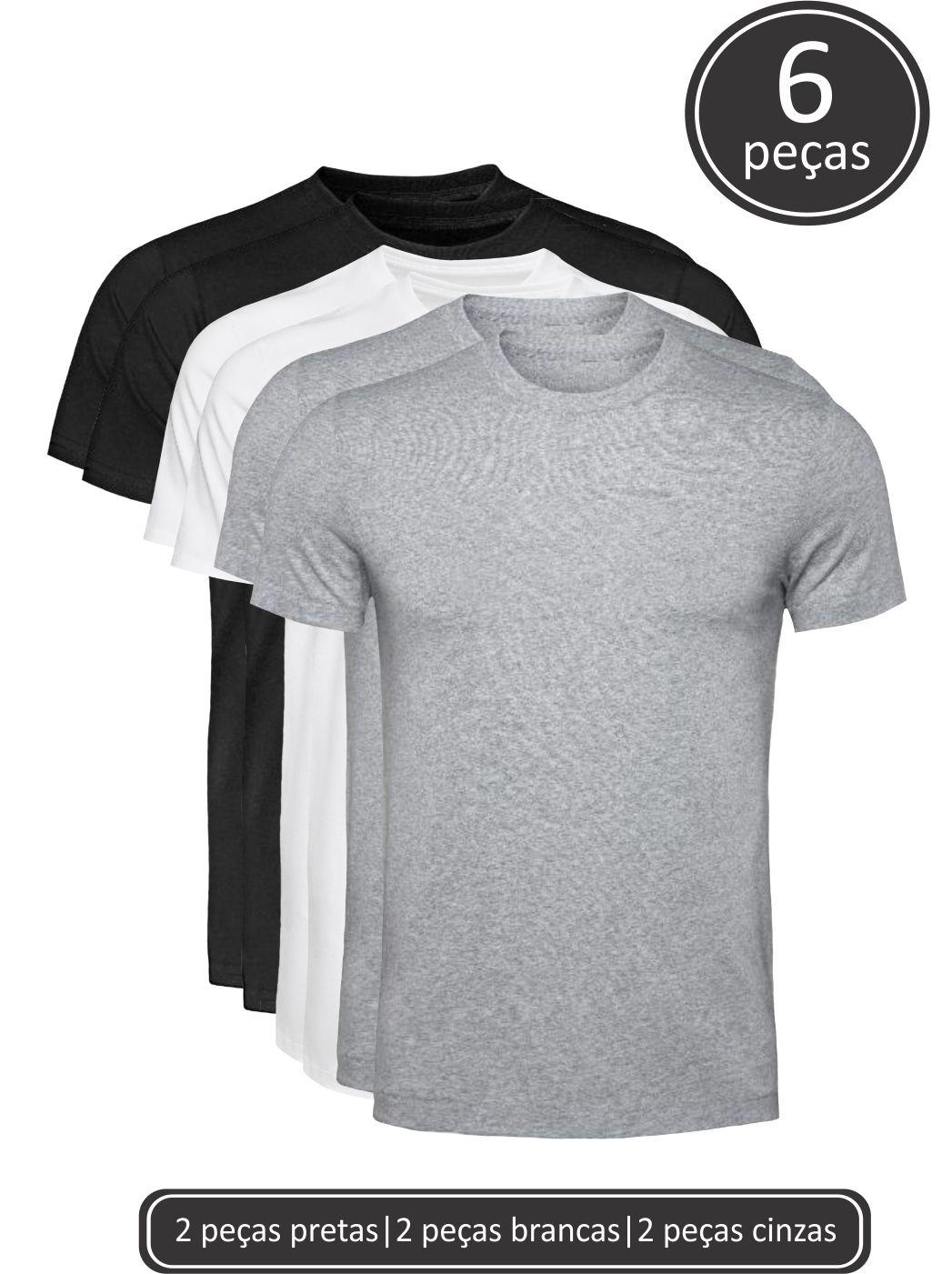 Kit 6 Camisetas Básicas Mixadas