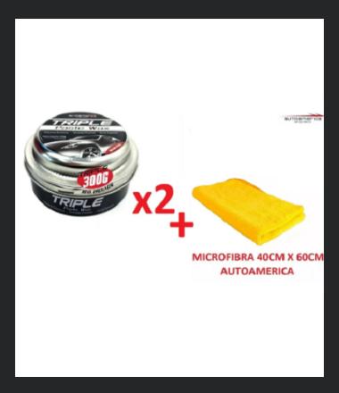 Kit Cera Triple wax 300g + Flanela Autoamerica 60X40