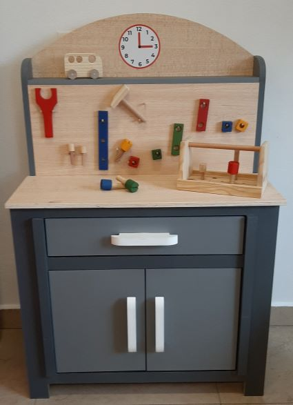 Bancada de Ferramentas Infantil Cinza Fashion Toys
