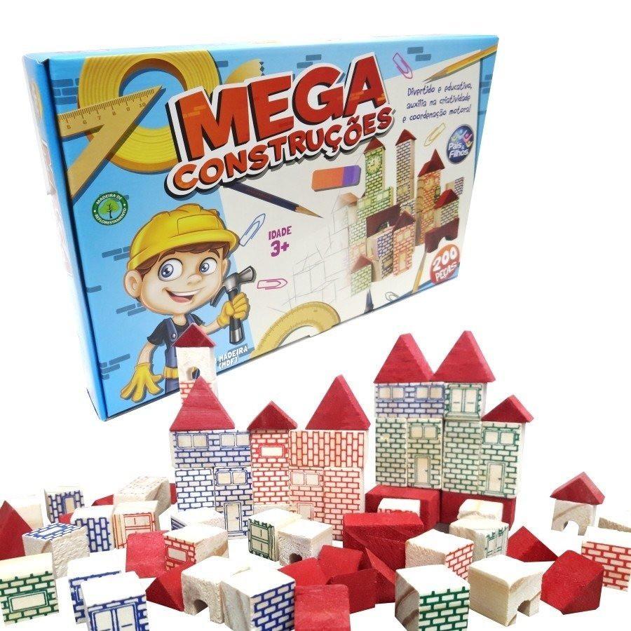 Brinquedo de Montar Mega Construções em Madeira