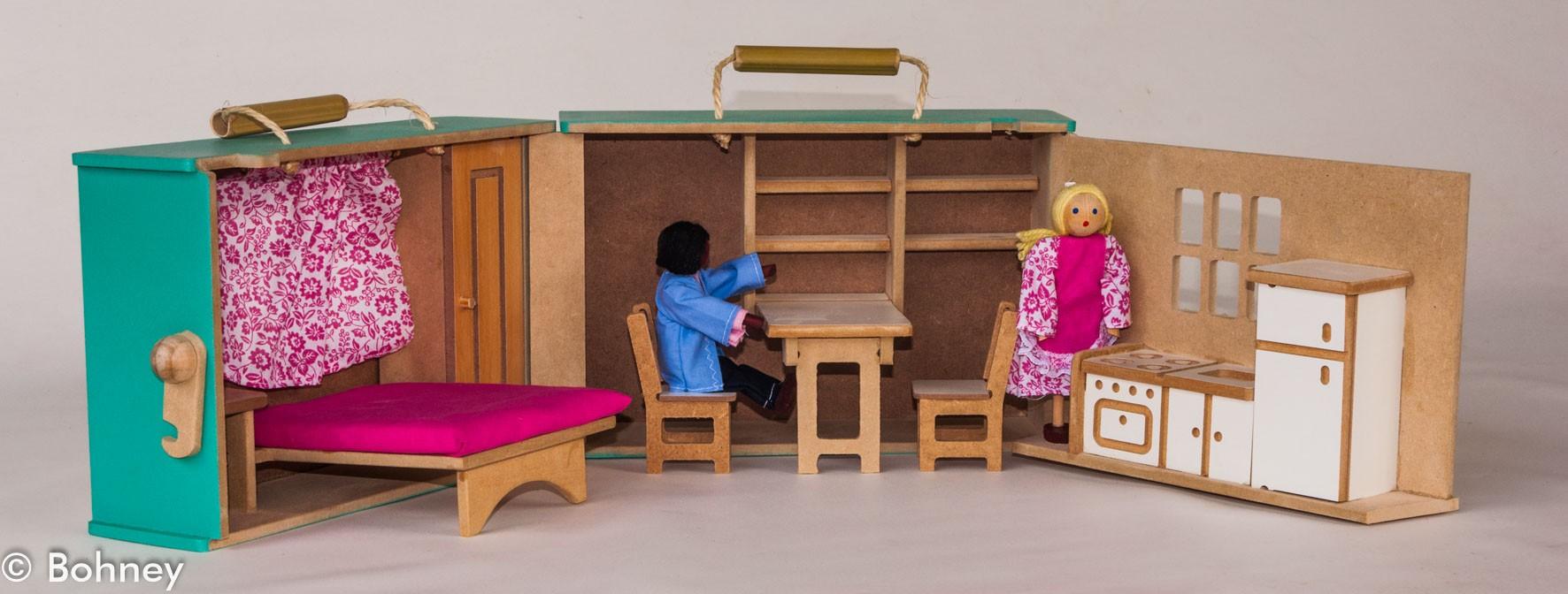 Casinha de Boneca Maleta com Mobília