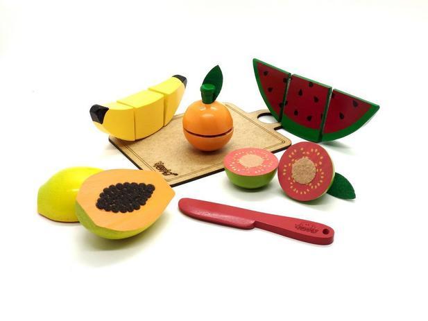 Comidinha de brinquedo - Kit frutas com corte