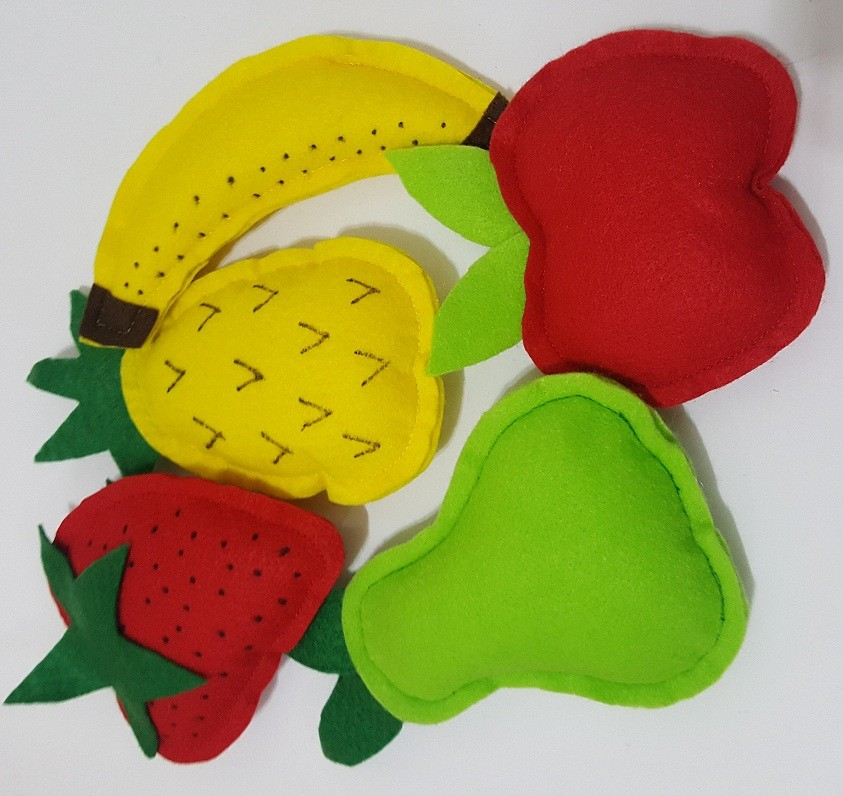 Comidinha de Brinquedo - Kit Frutas em feltro
