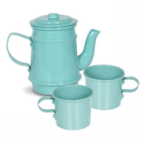 Faz de Conta - Kit de Chá Infantil de Alumínio Turquesa