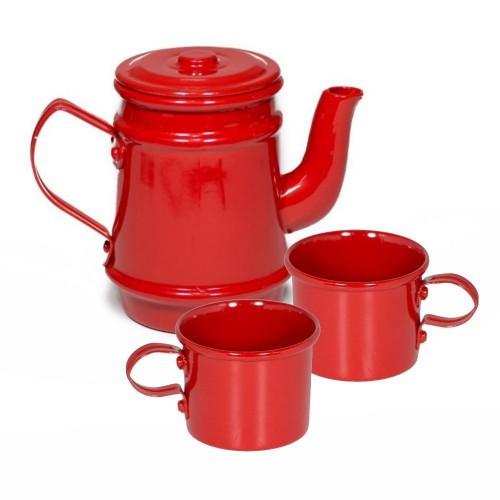 Faz de Conta - Kit de Chá Infantil de Alumínio Vermelho