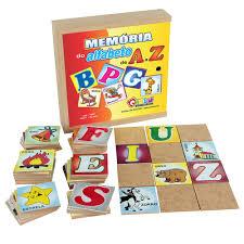 Memória do Alfabeto de A a Z de Madeira