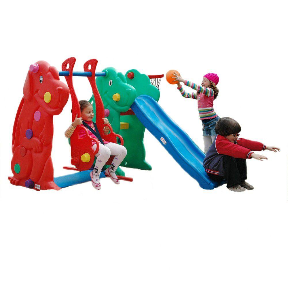 Playground Escorregador e Balanço Cachorro com Cesta