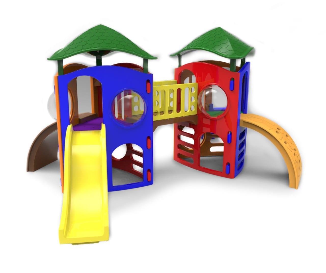 Playground Modular Wave Duplo com Telhado e Ponte
